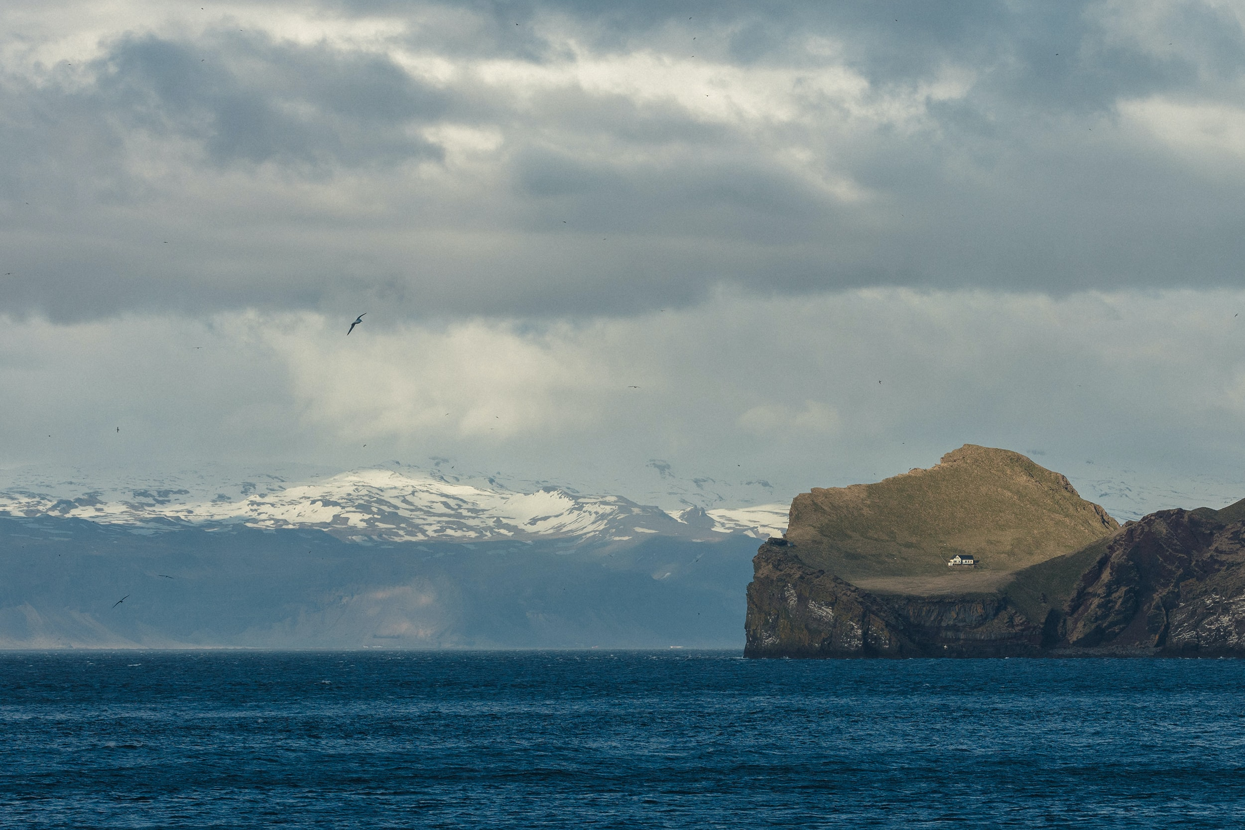 landscape photography of an island and snow covered mountain
