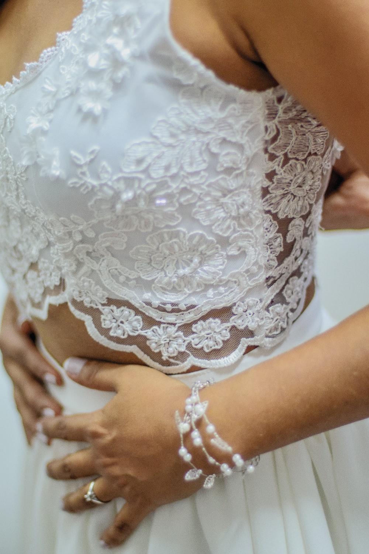 wedding photography of woman wearing white lace wedding dress