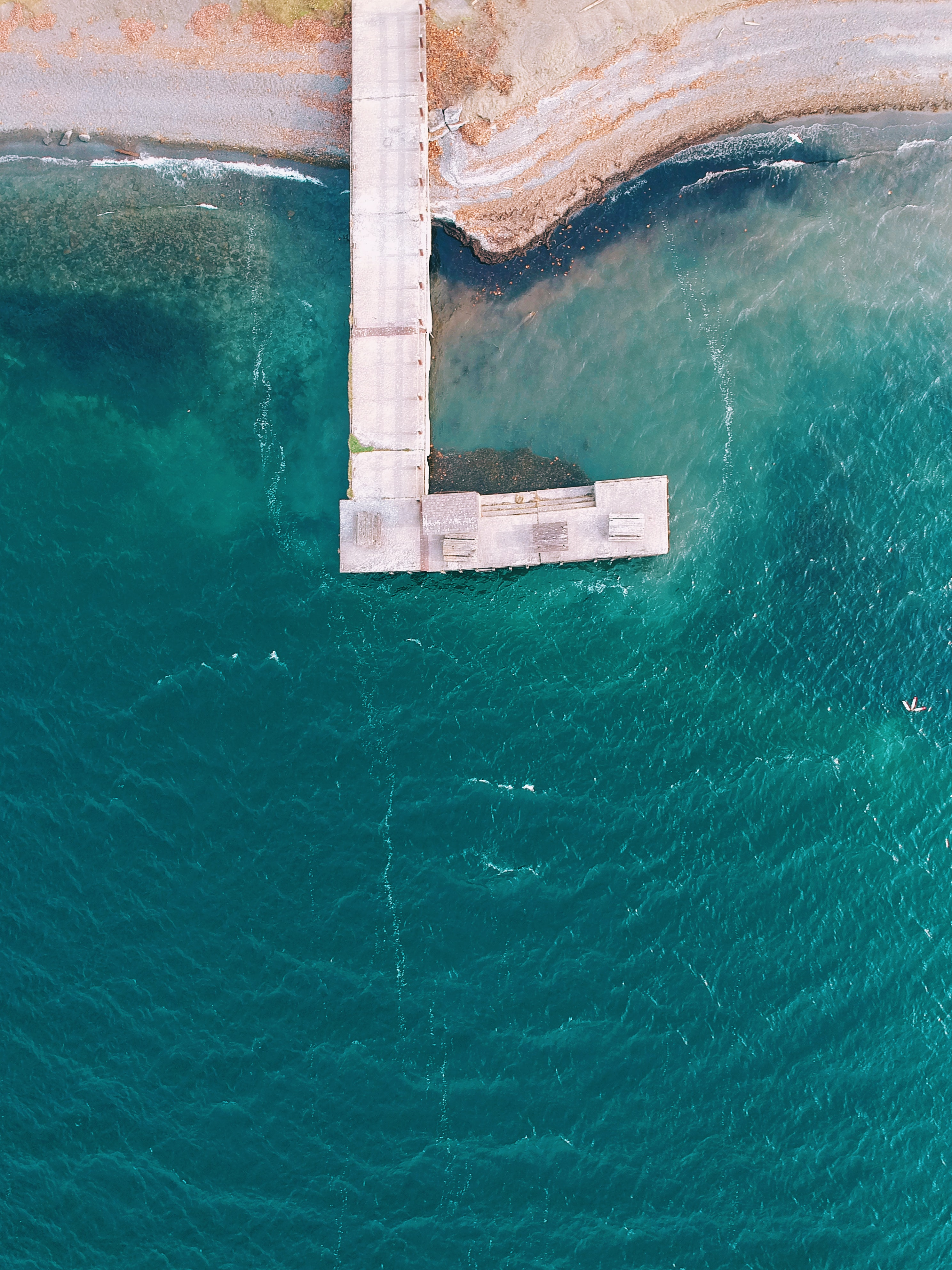 aerial view of dock bay in body of water