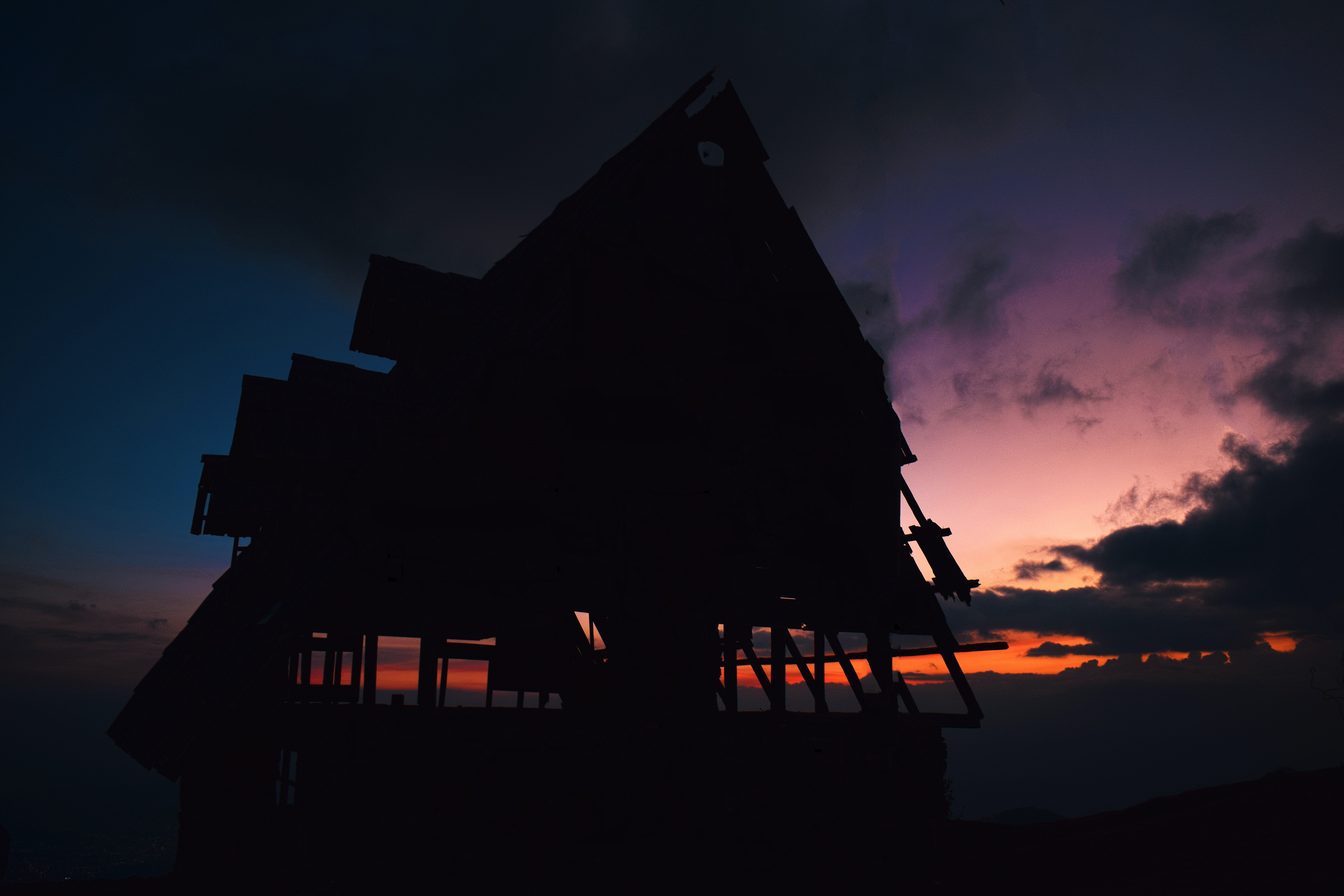 silhouette photography of house