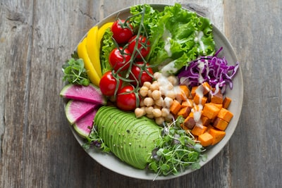 bowl of vegetable salads healthy food zoom background