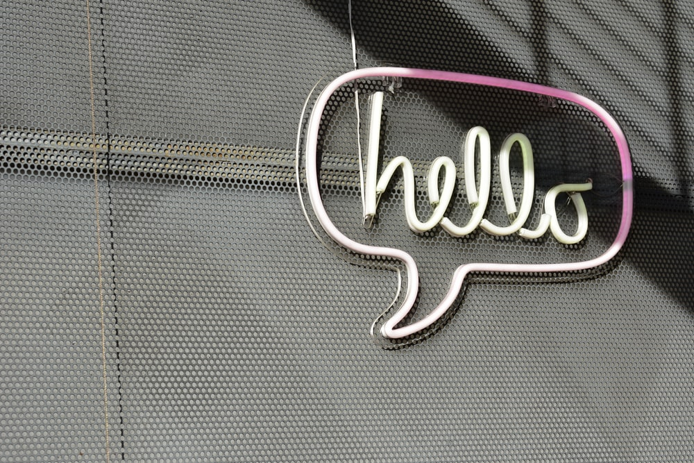 white Hello LED sign