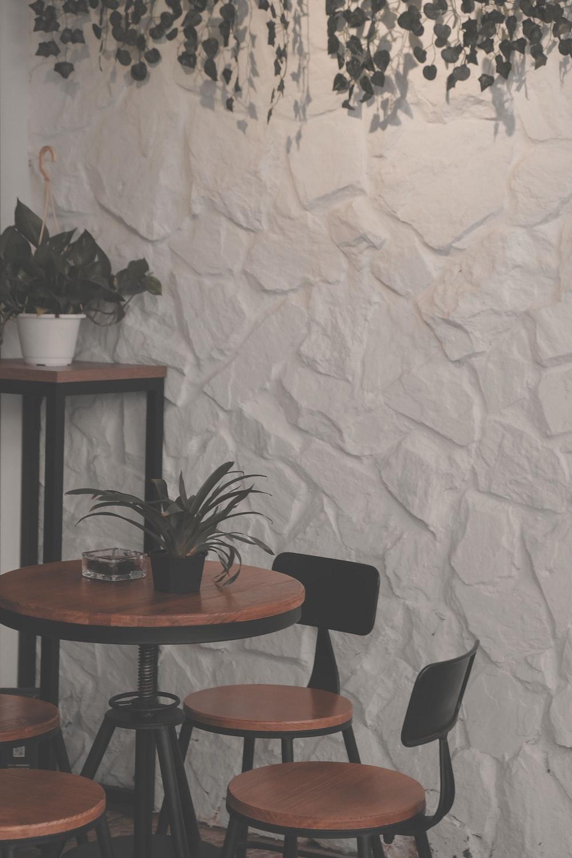 black metal framed brown wooden 5-piece dining set