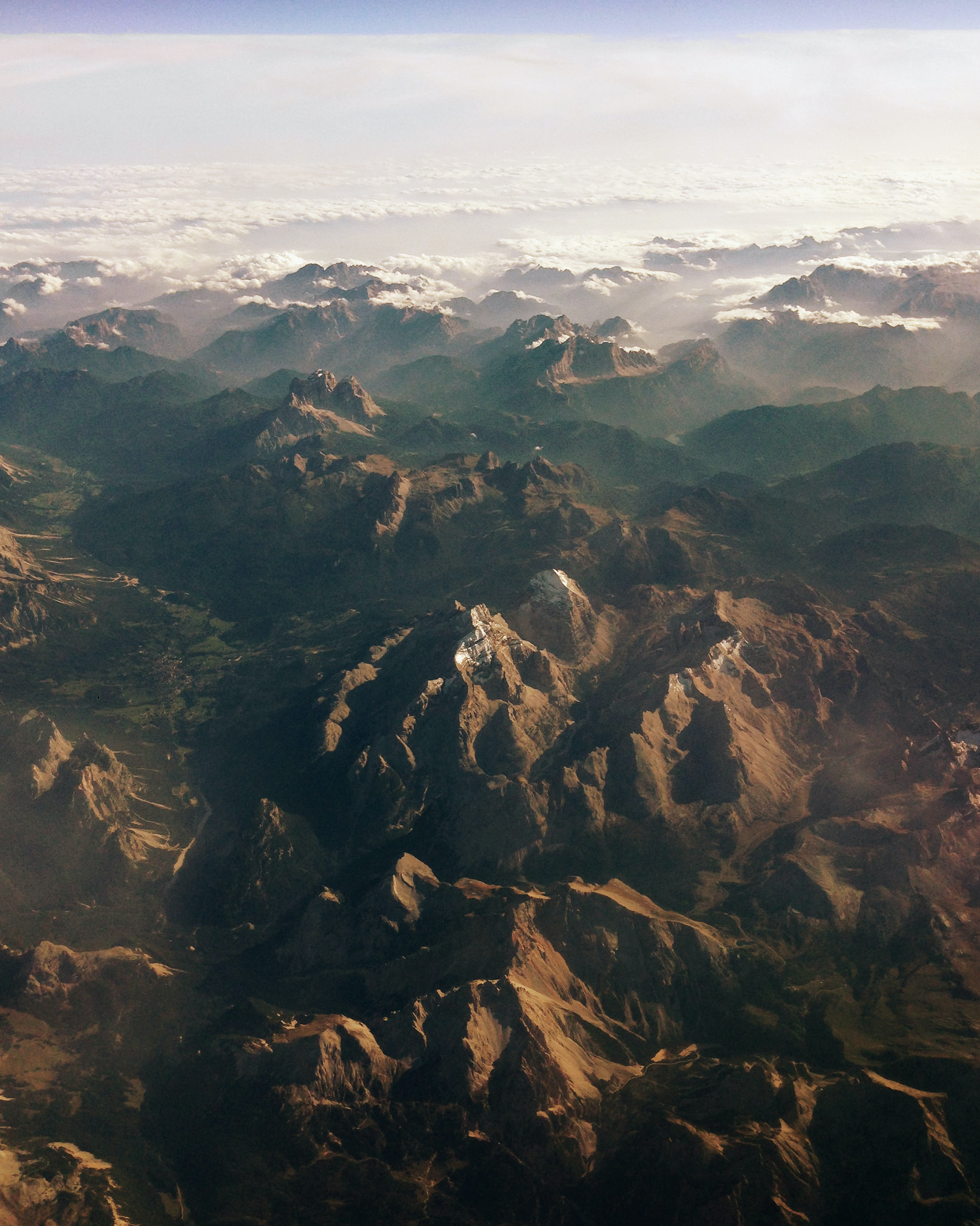 aerial photography of brown mountains