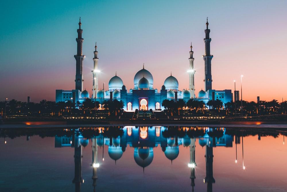 blue and beige concrete mosque