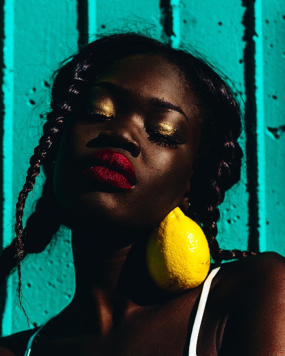 lemon on women's neck