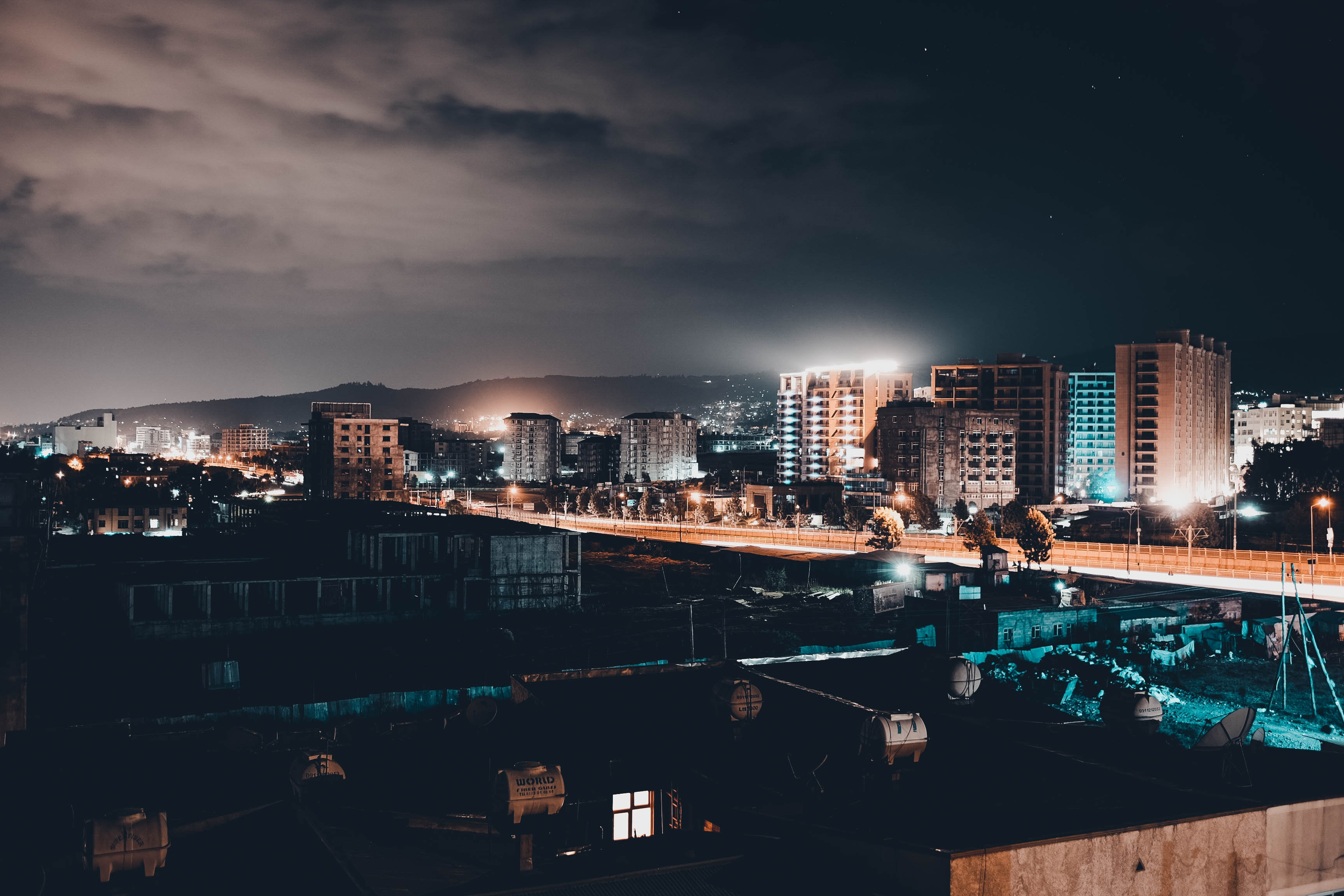 buildings during night time