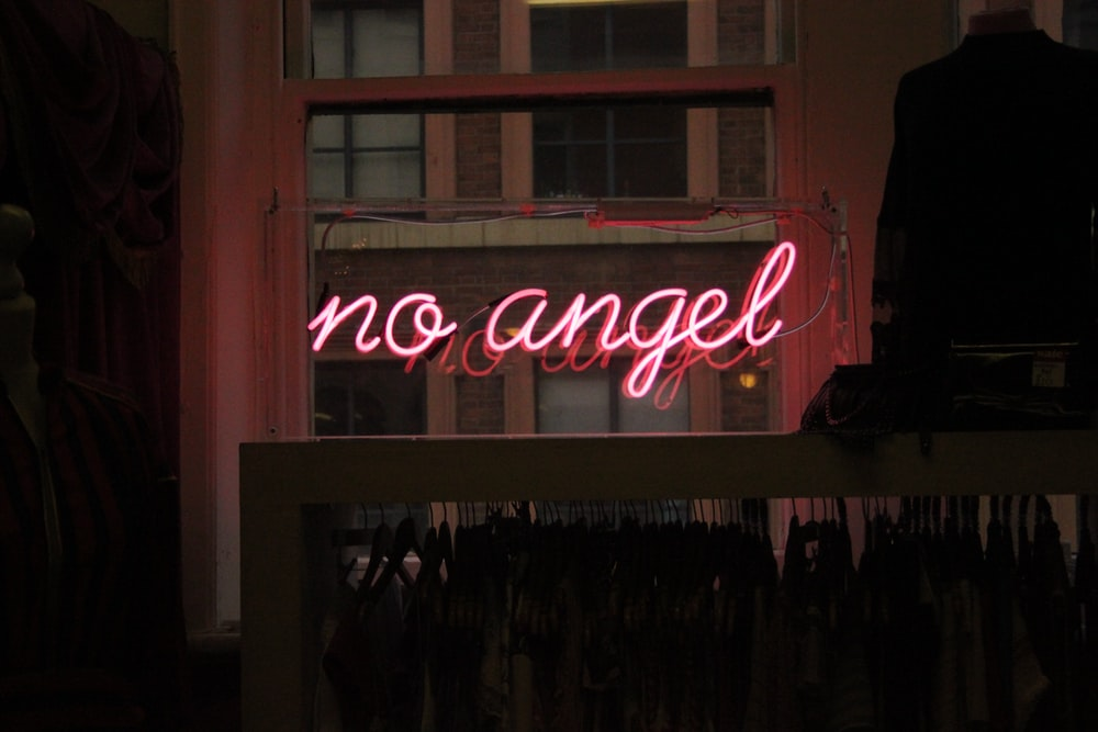no angel neon signage