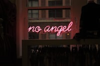 no angel neon signage