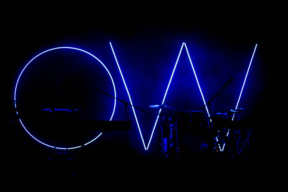 turned on OW blue signage