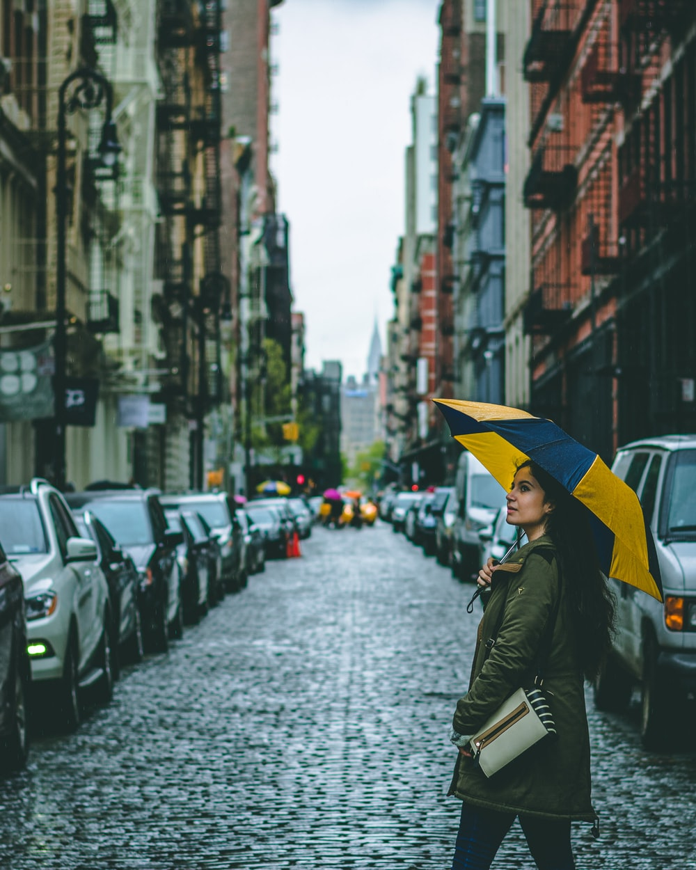 woman holding umbrella surrounded by cars