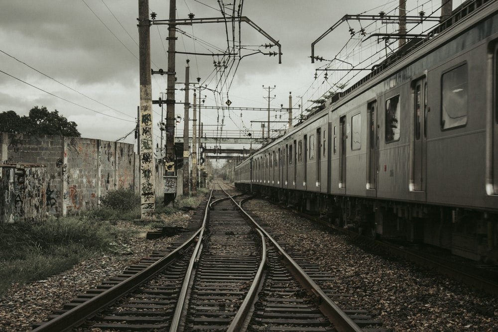 train under the cloudy sky