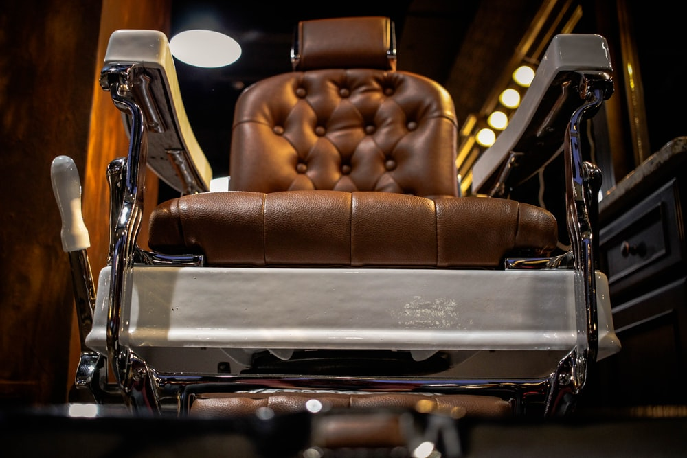 brown barber's chair