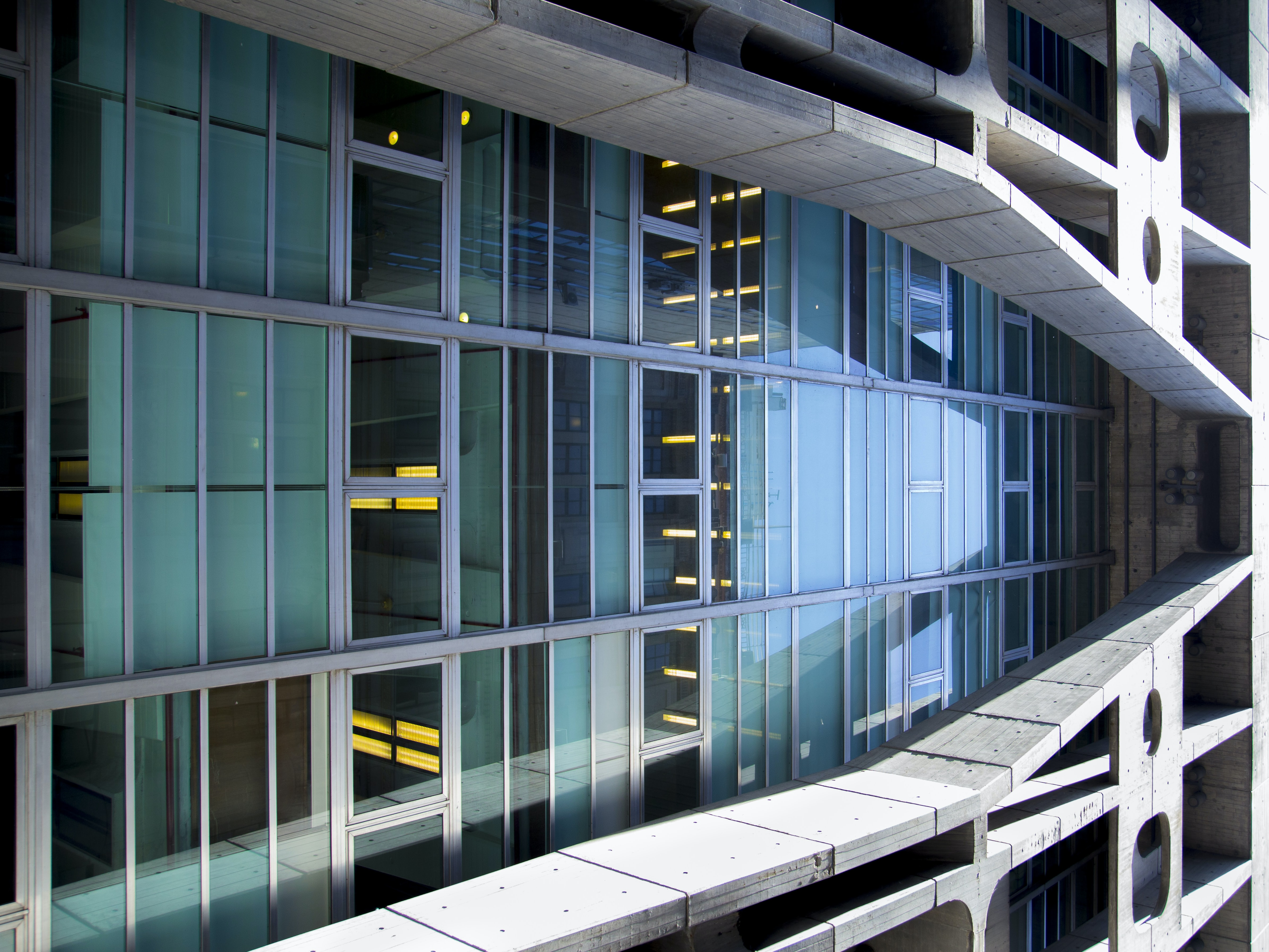 clear glass panel building