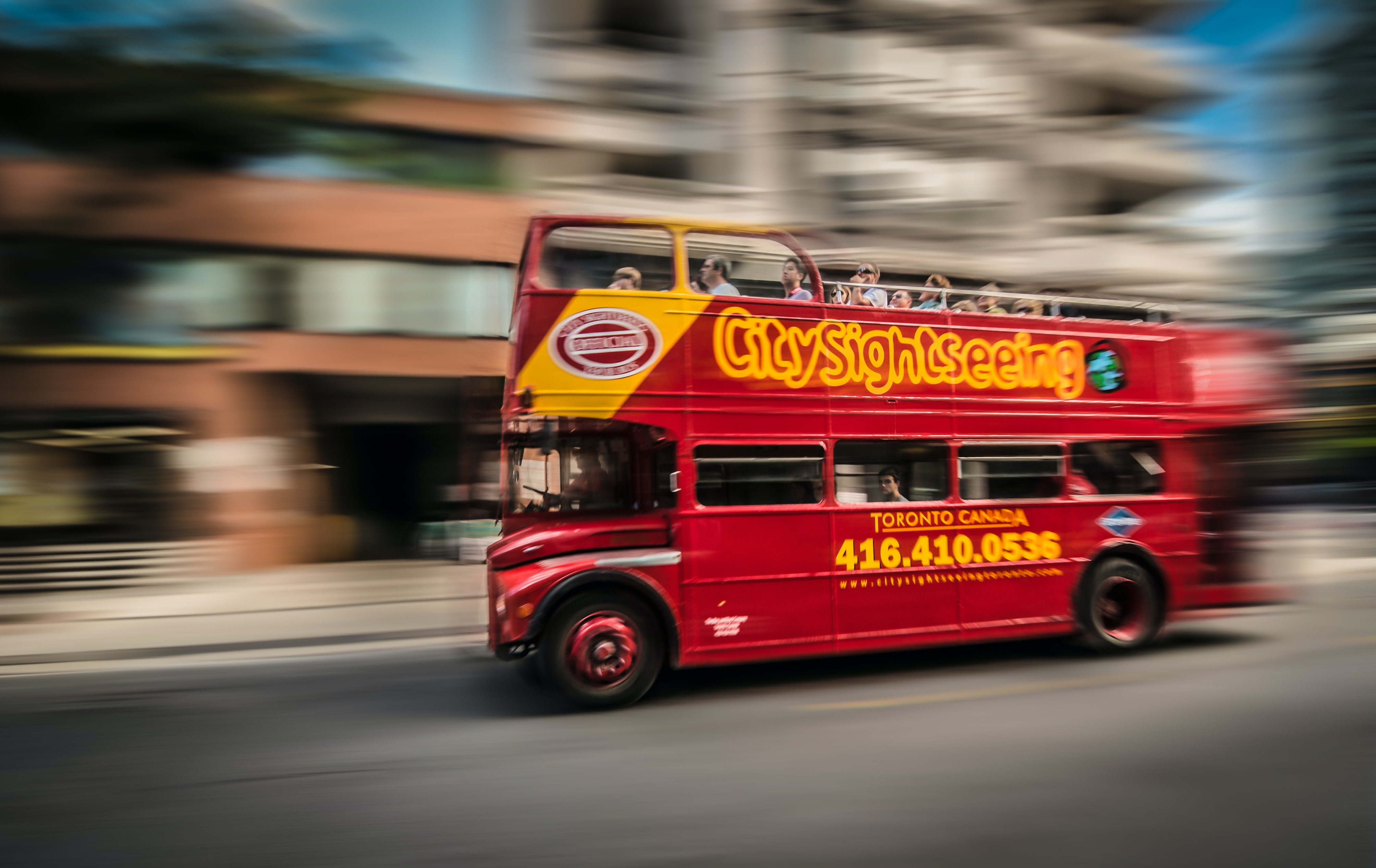 red and yellow bus photo