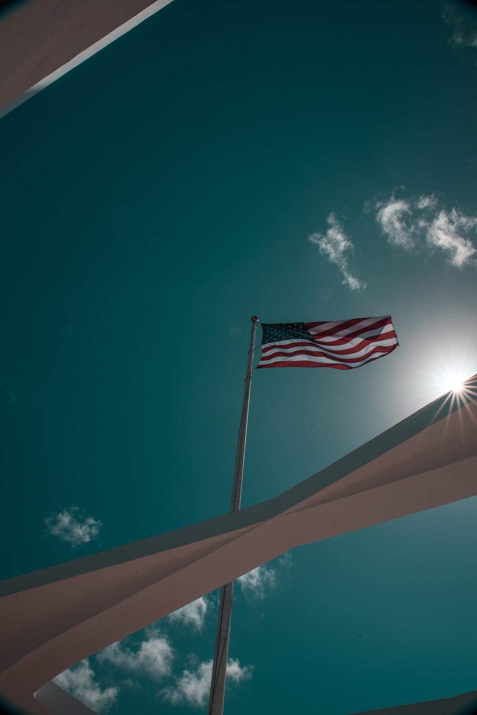 USA flag in flag pole