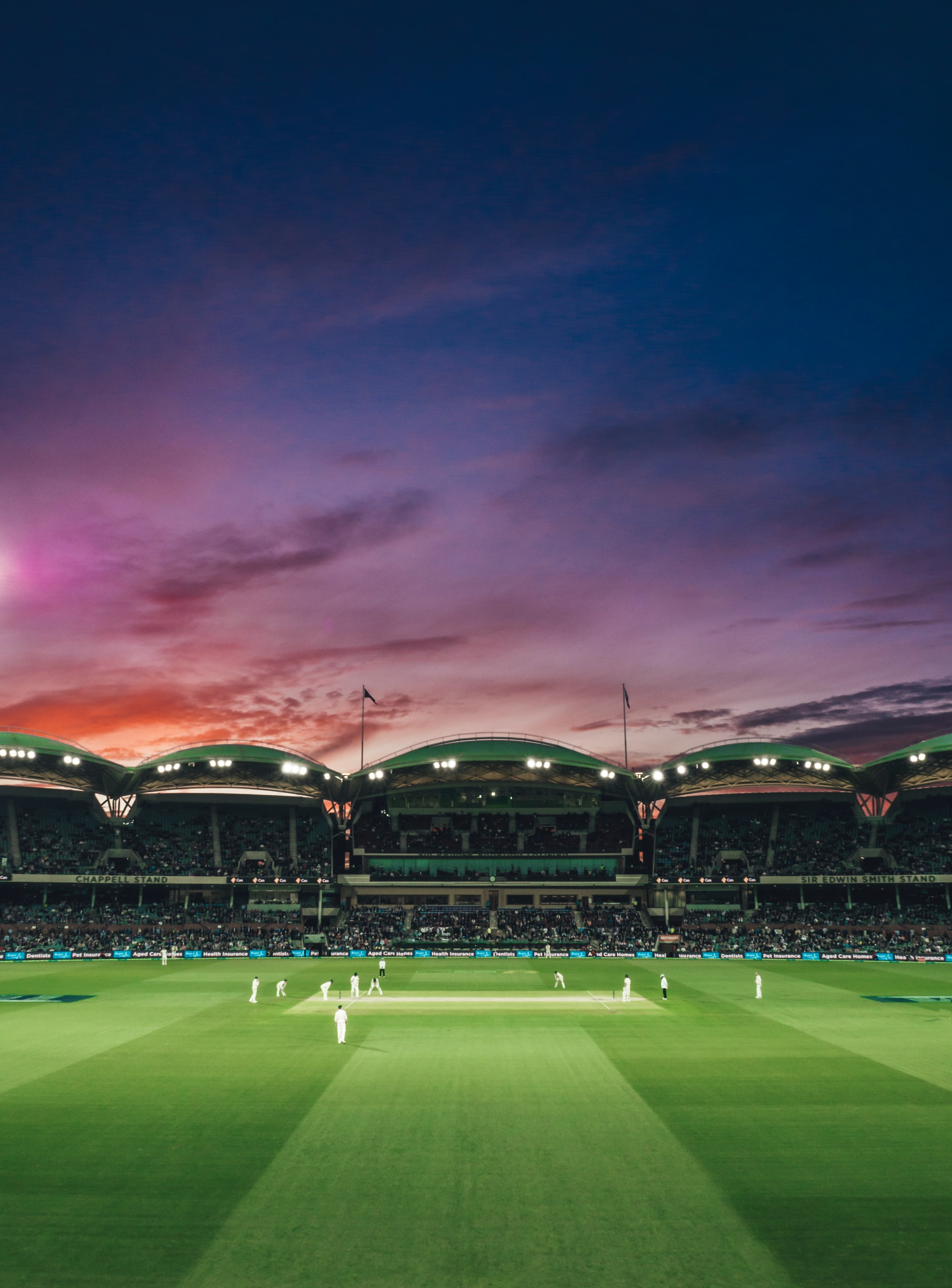 As the sun sets, so does the test match between England and Australia. Adelaide Oval, South Australia.