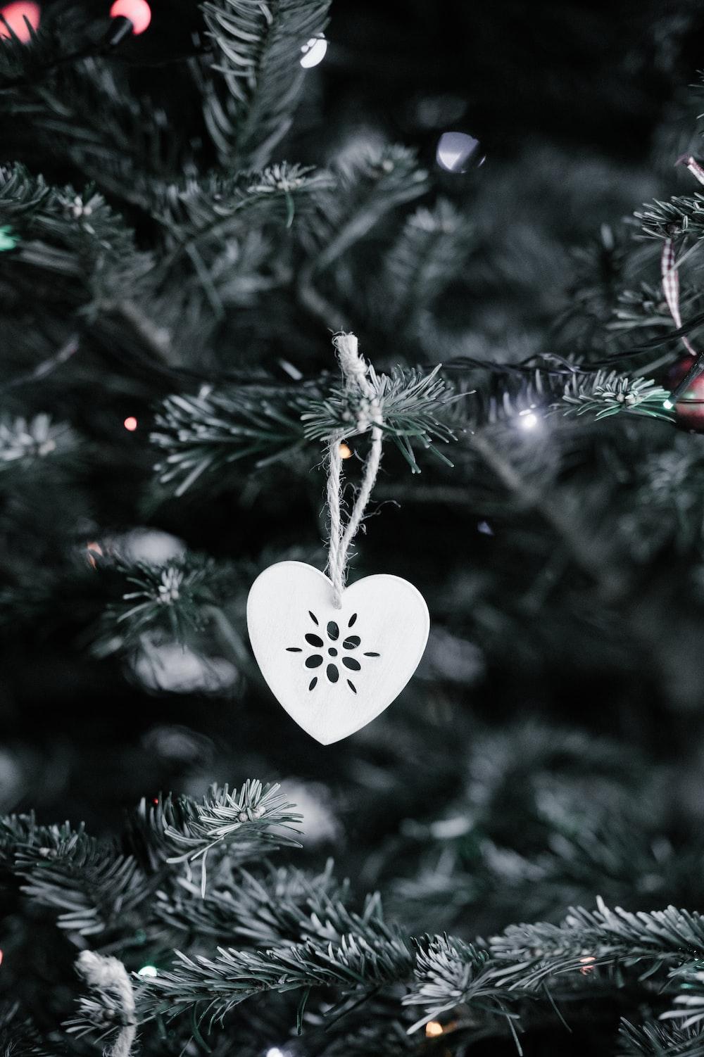 gray heart Christmas tree ornament