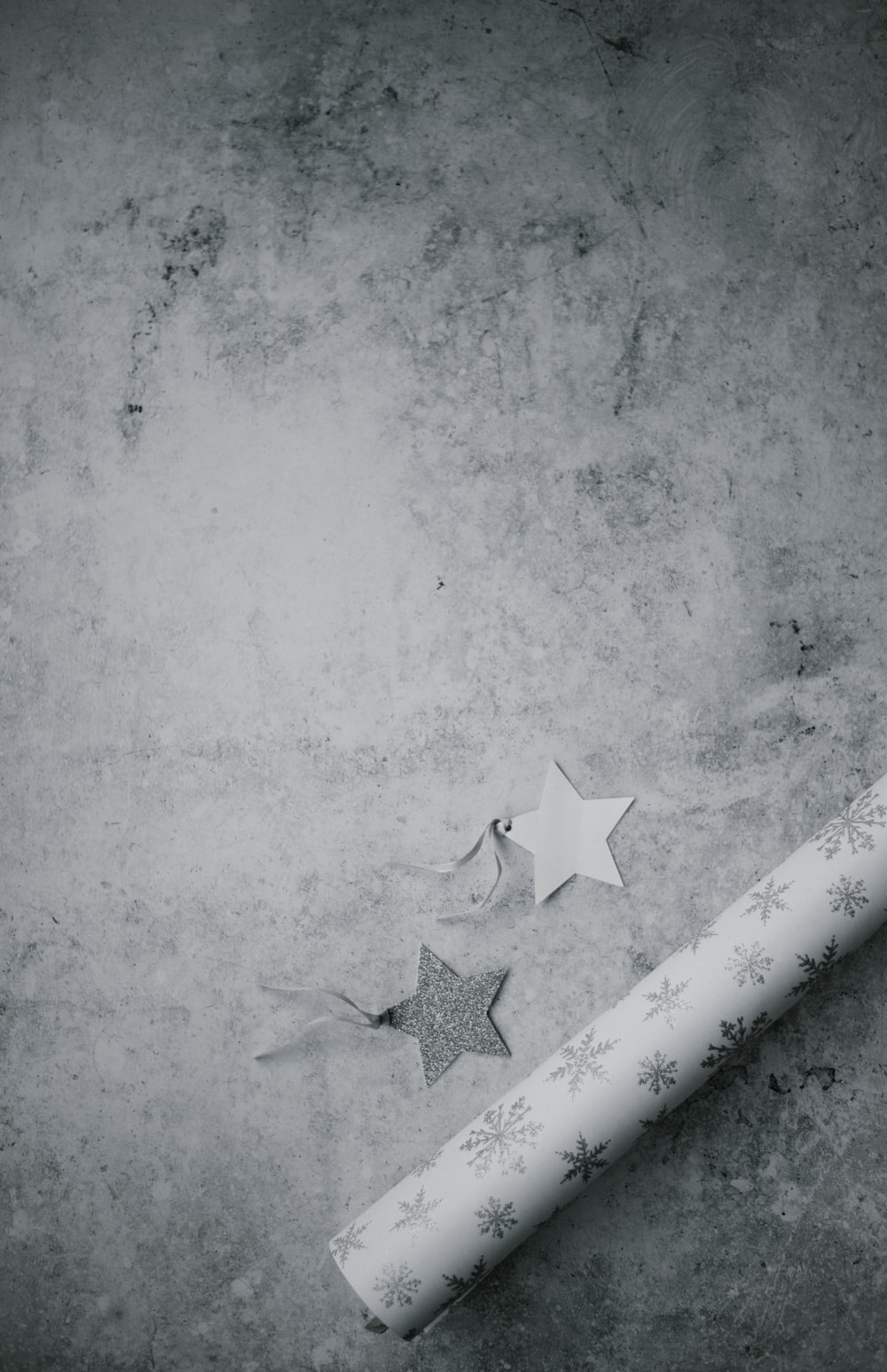 grayscale photo of star mat