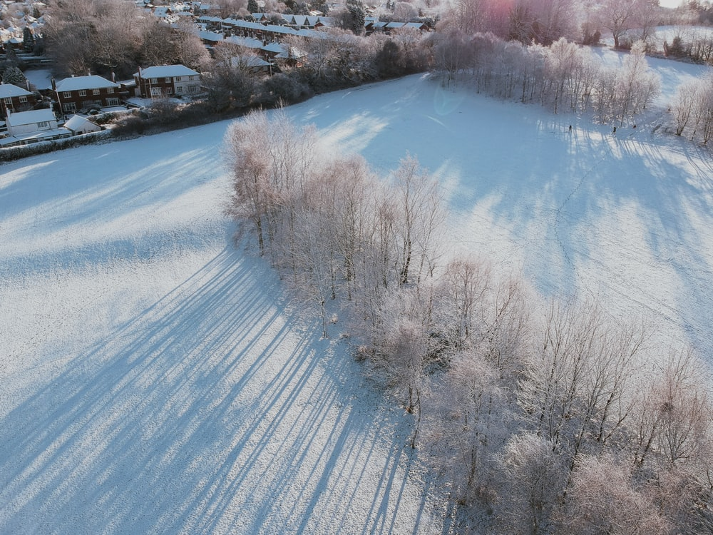 aerial view photography of snow field during daytime