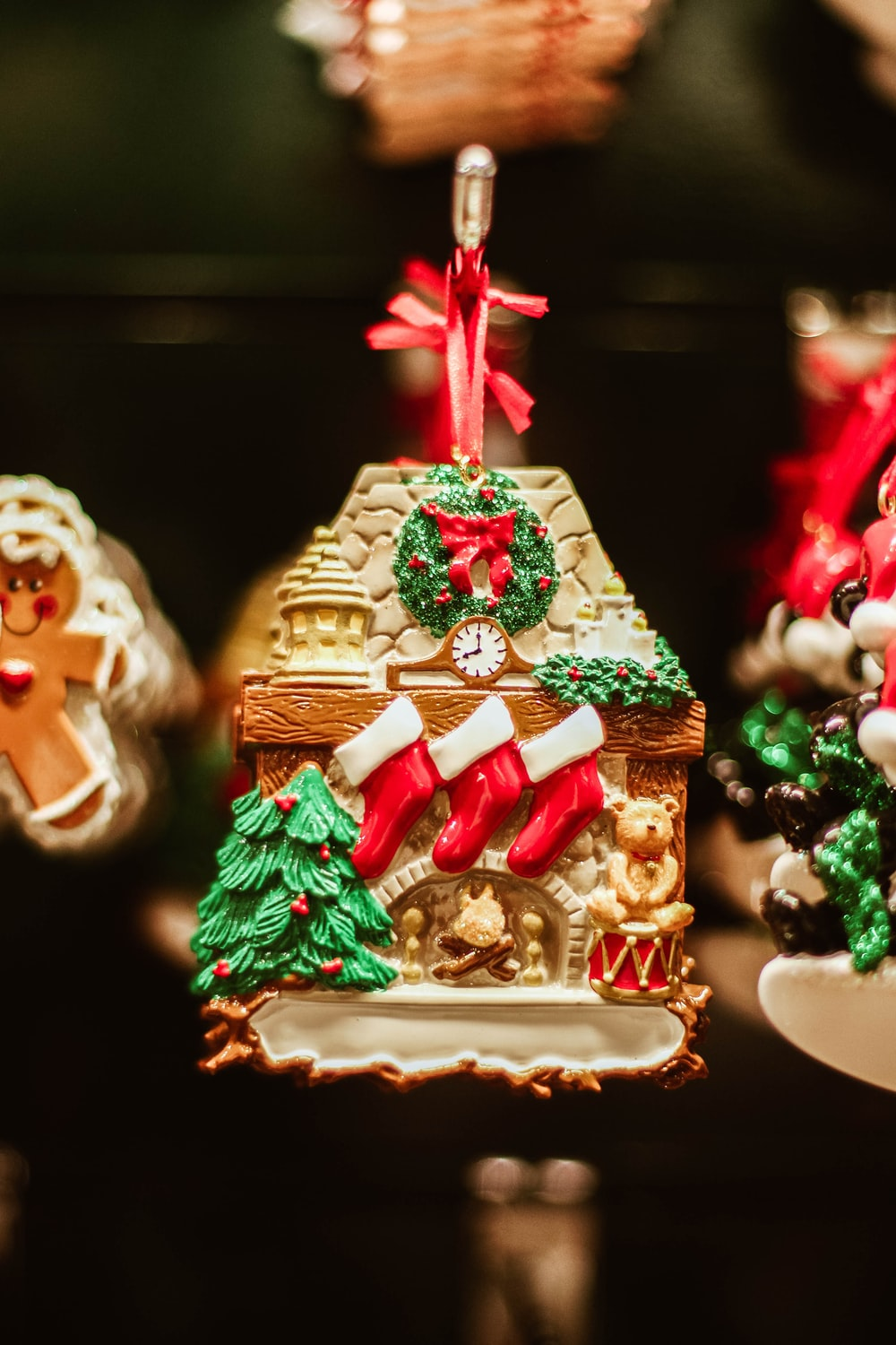 shallow focus photography of multicolored Christmas decor