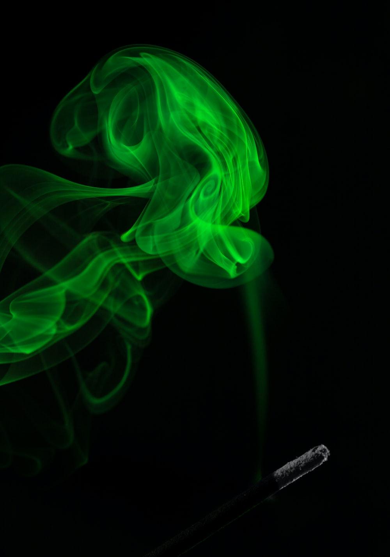 green smoke on dim light