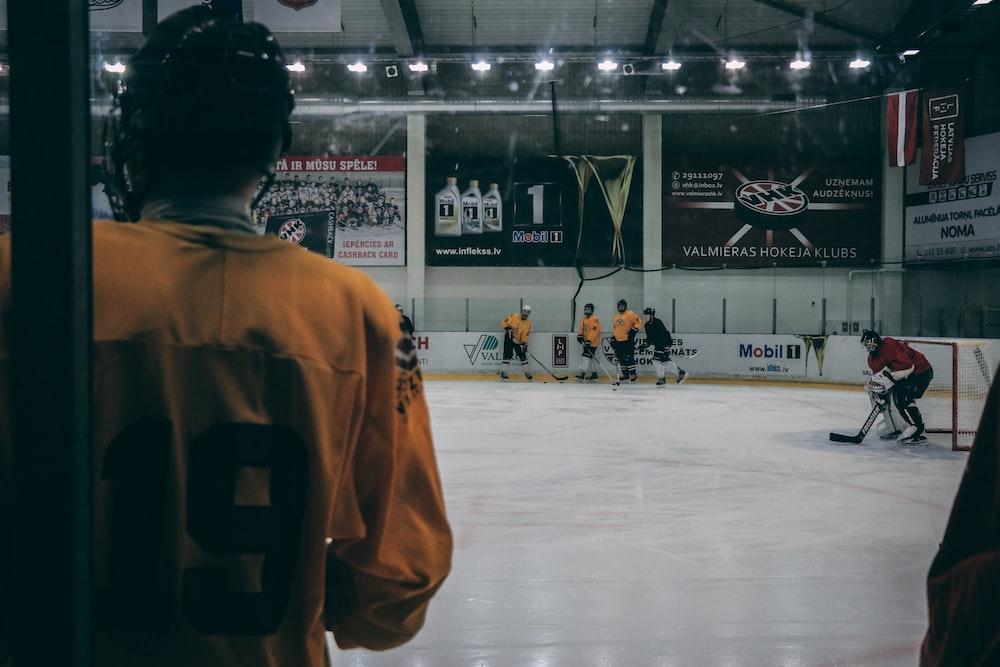 group of men playing hockey