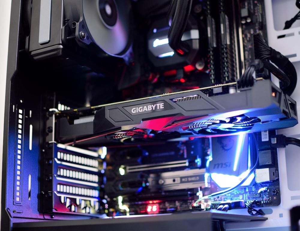 black Gigabyte graphics card