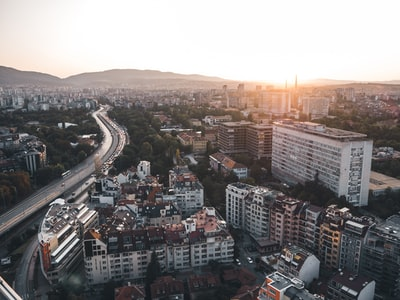 bird's-eye view of cityscape near road during daytime bulgaria zoom background