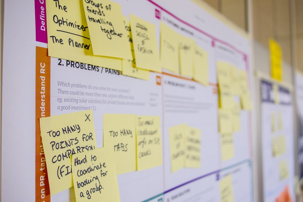 printed sticky notes glued on board