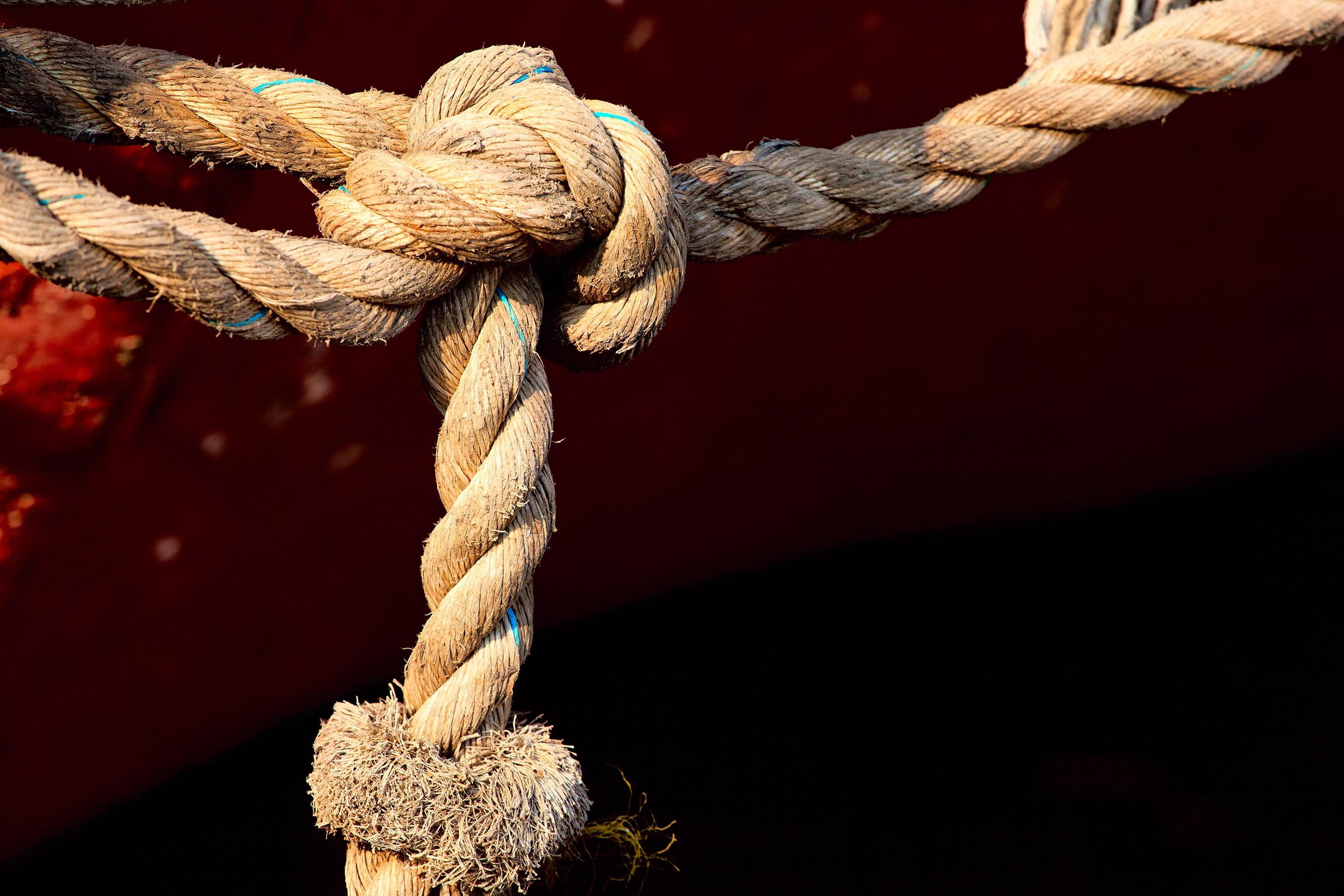 closeup photo of tied brown rope