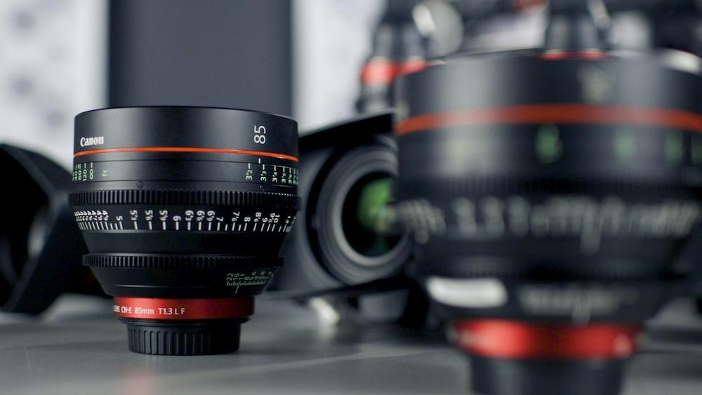 selective focus photo of black camera lens