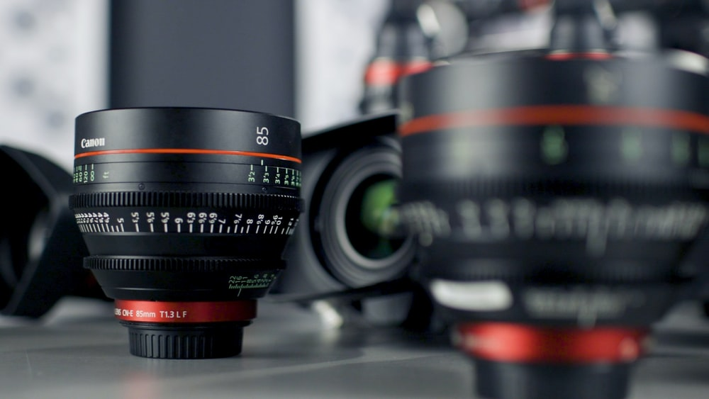 selective focus photo of black camera lens