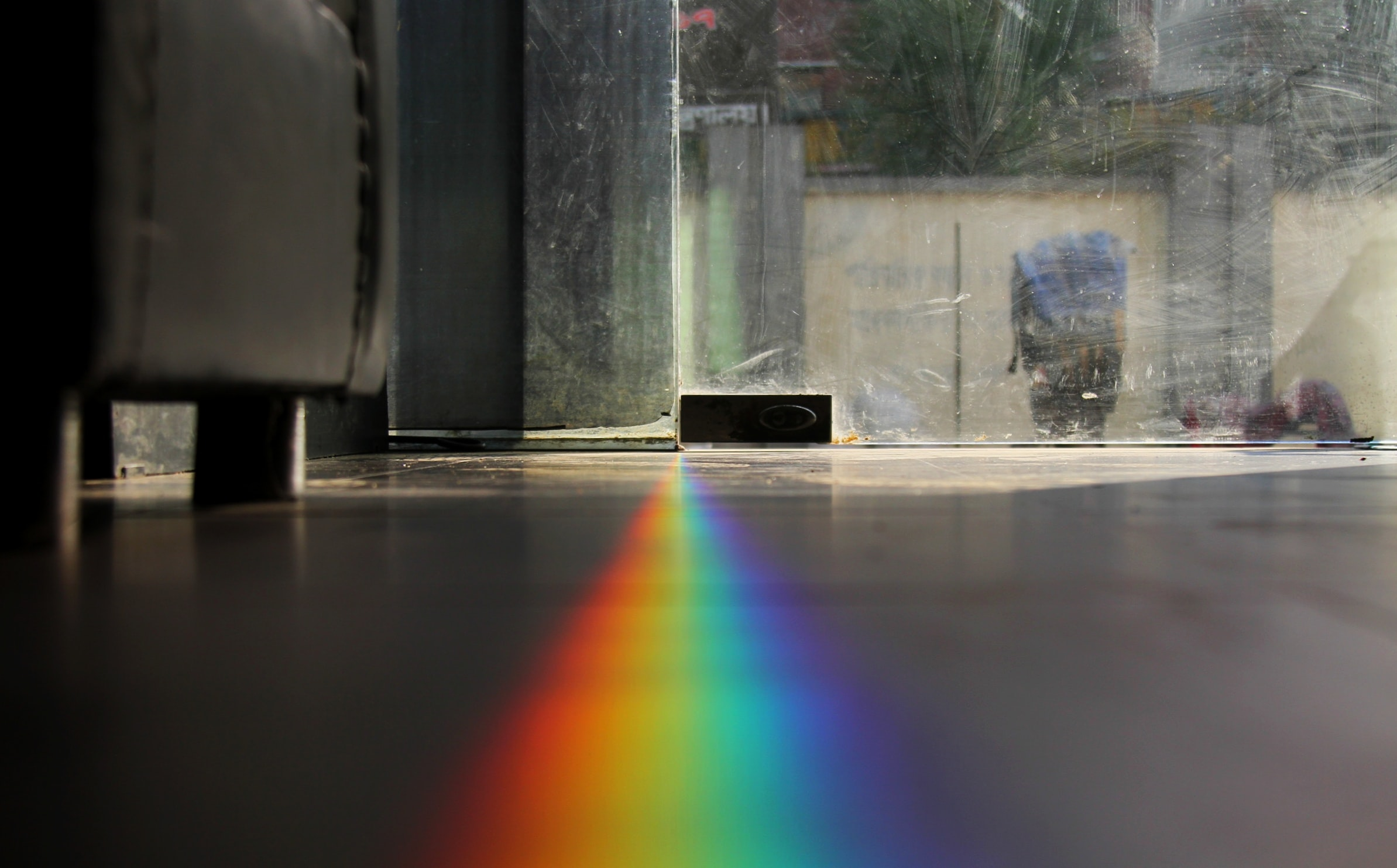 closeup photo of glass reflection rainbow light