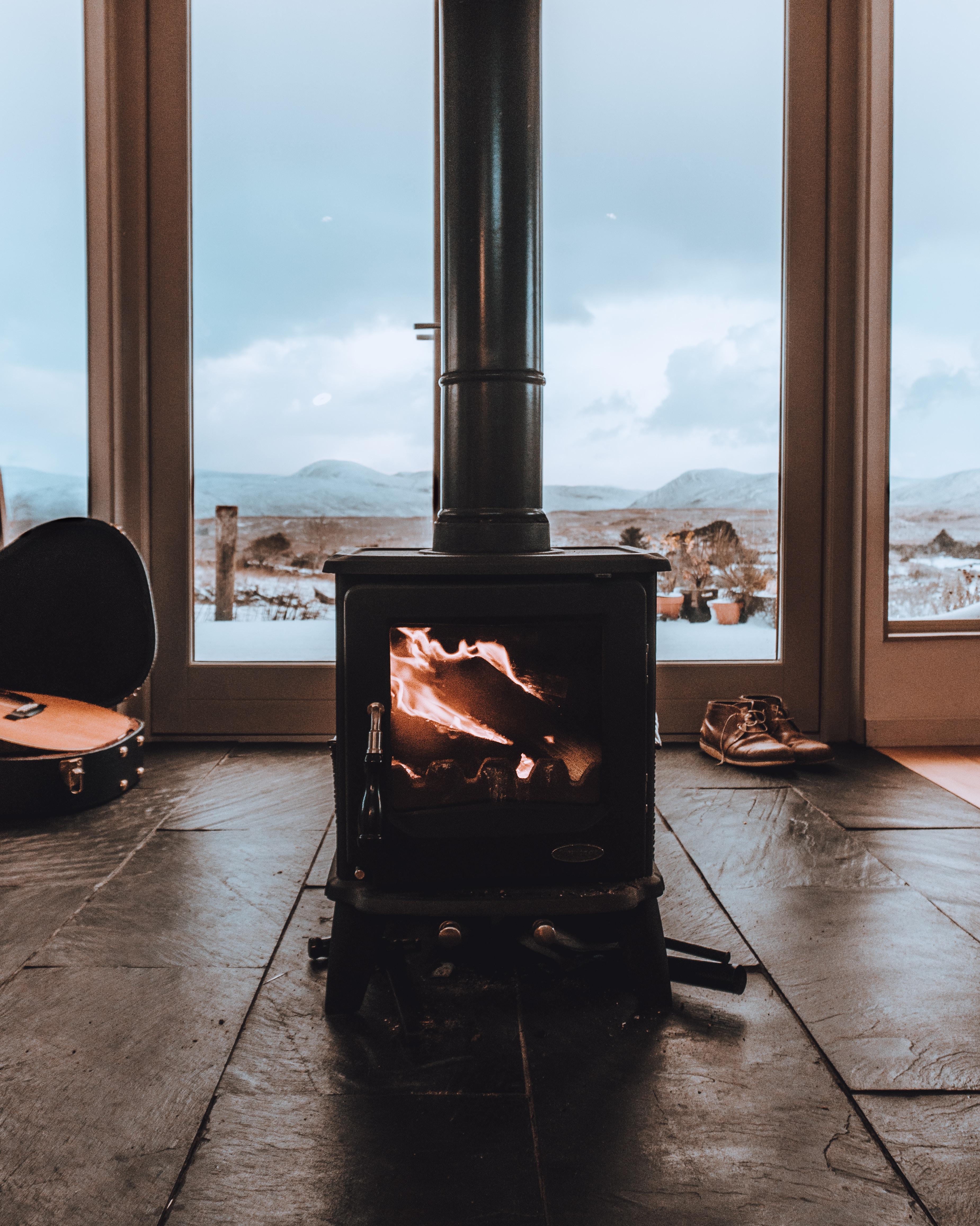 black wood burner in room