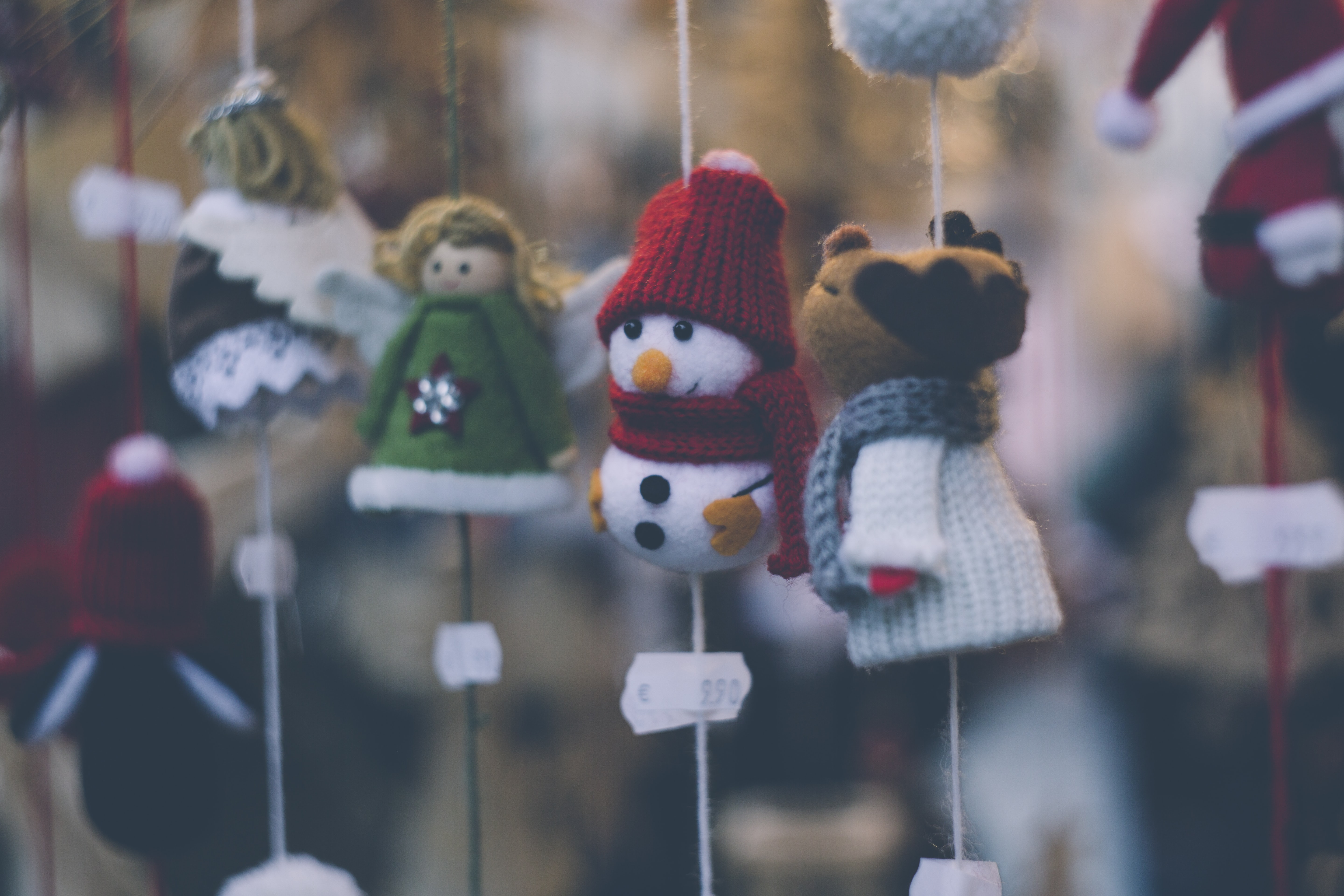 hanged assorted Christmas ornaments