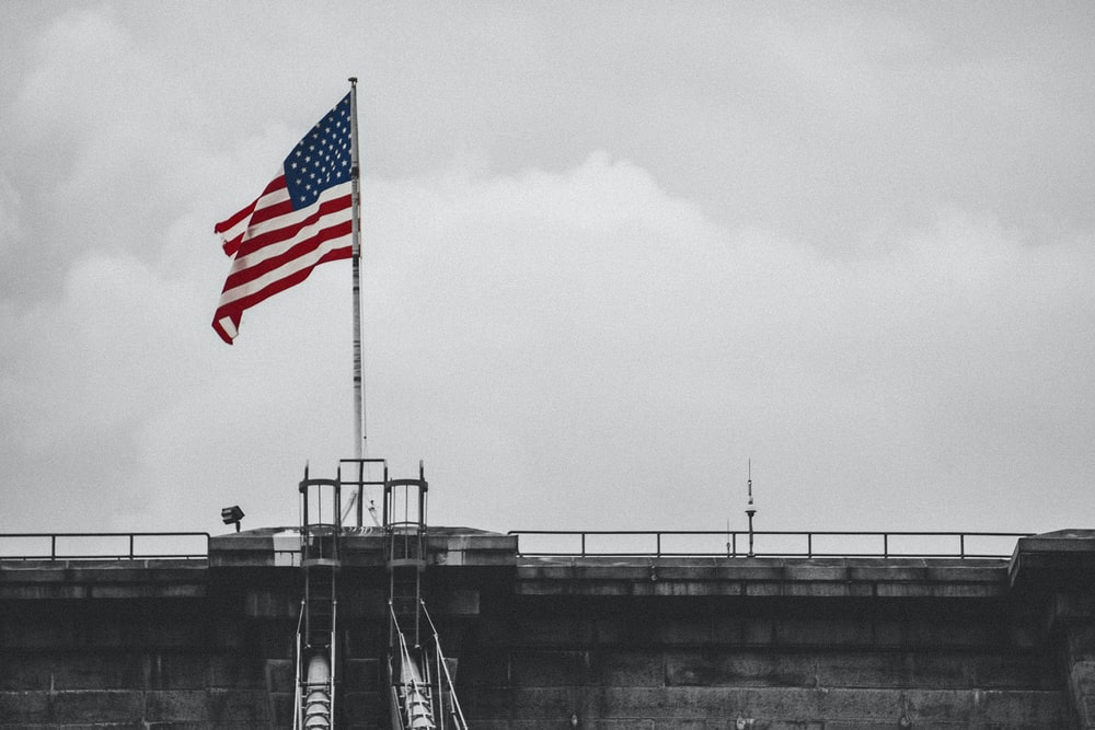selective color photography of U.S.A. flag