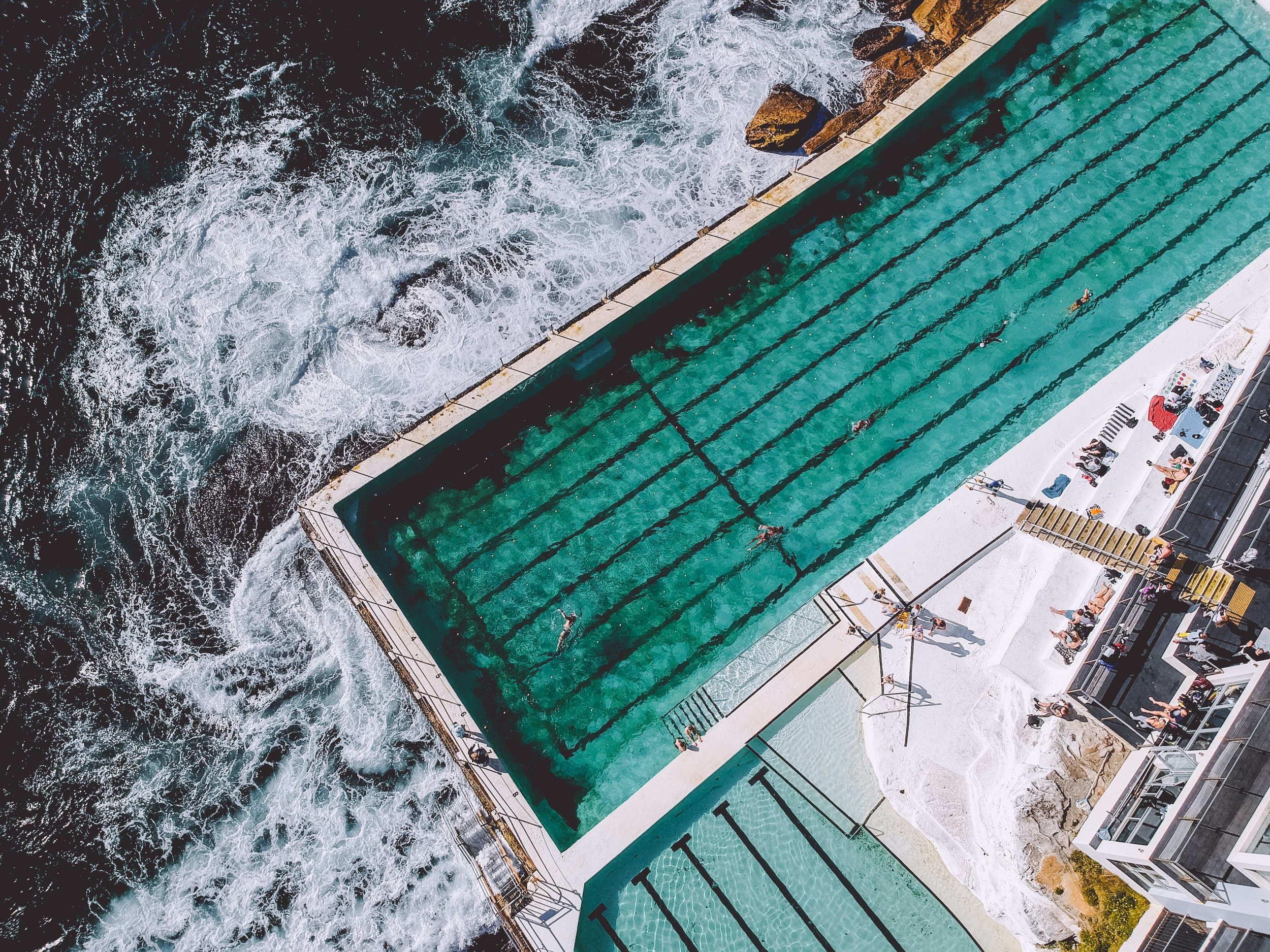 aerial view photography of pool with people