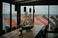galleon ship decor on table
