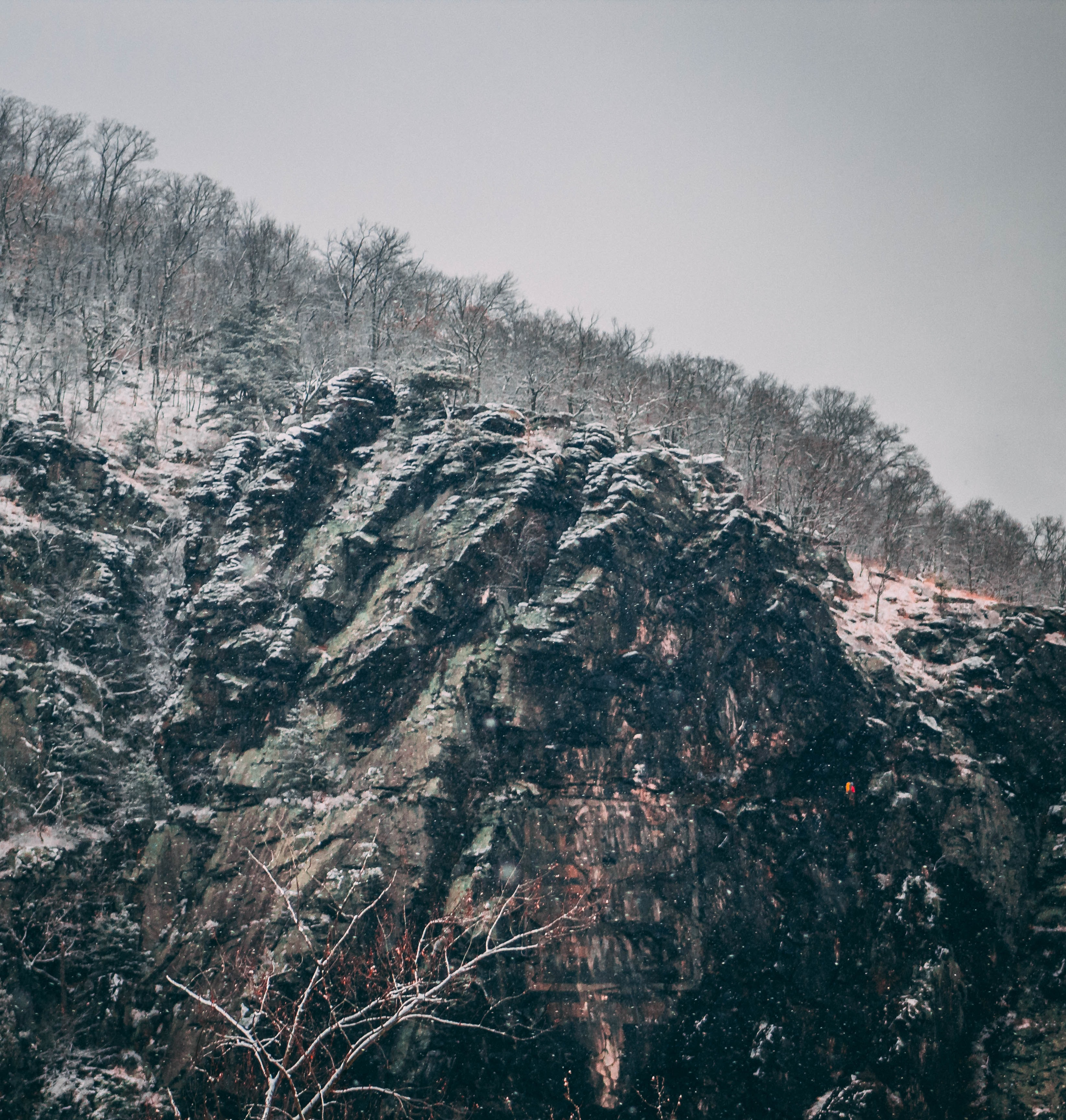 low light photography of rock mountains