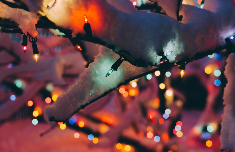 assorted-color string lights around white christmas tree