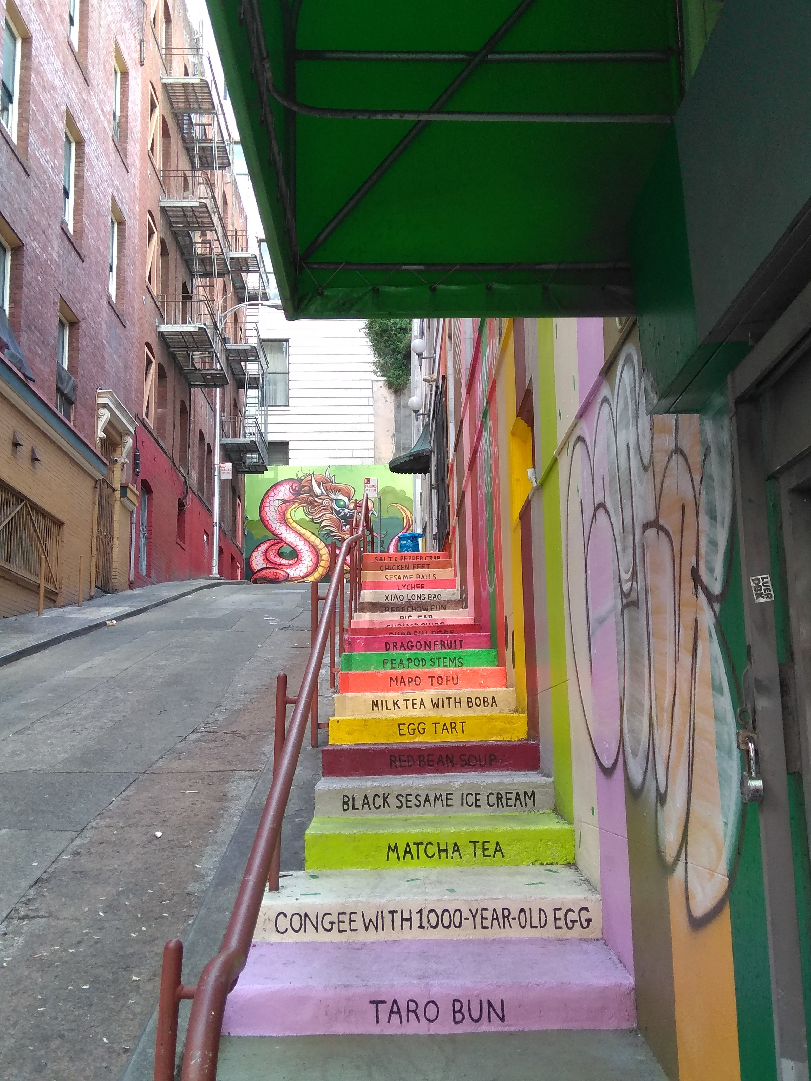multicolored stairs with text on it