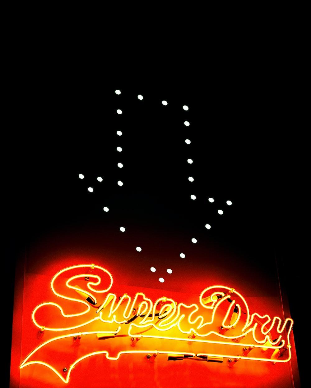 lighted Super Dry signage