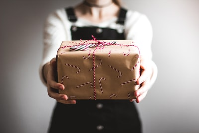 person showing brown gift box gift zoom background