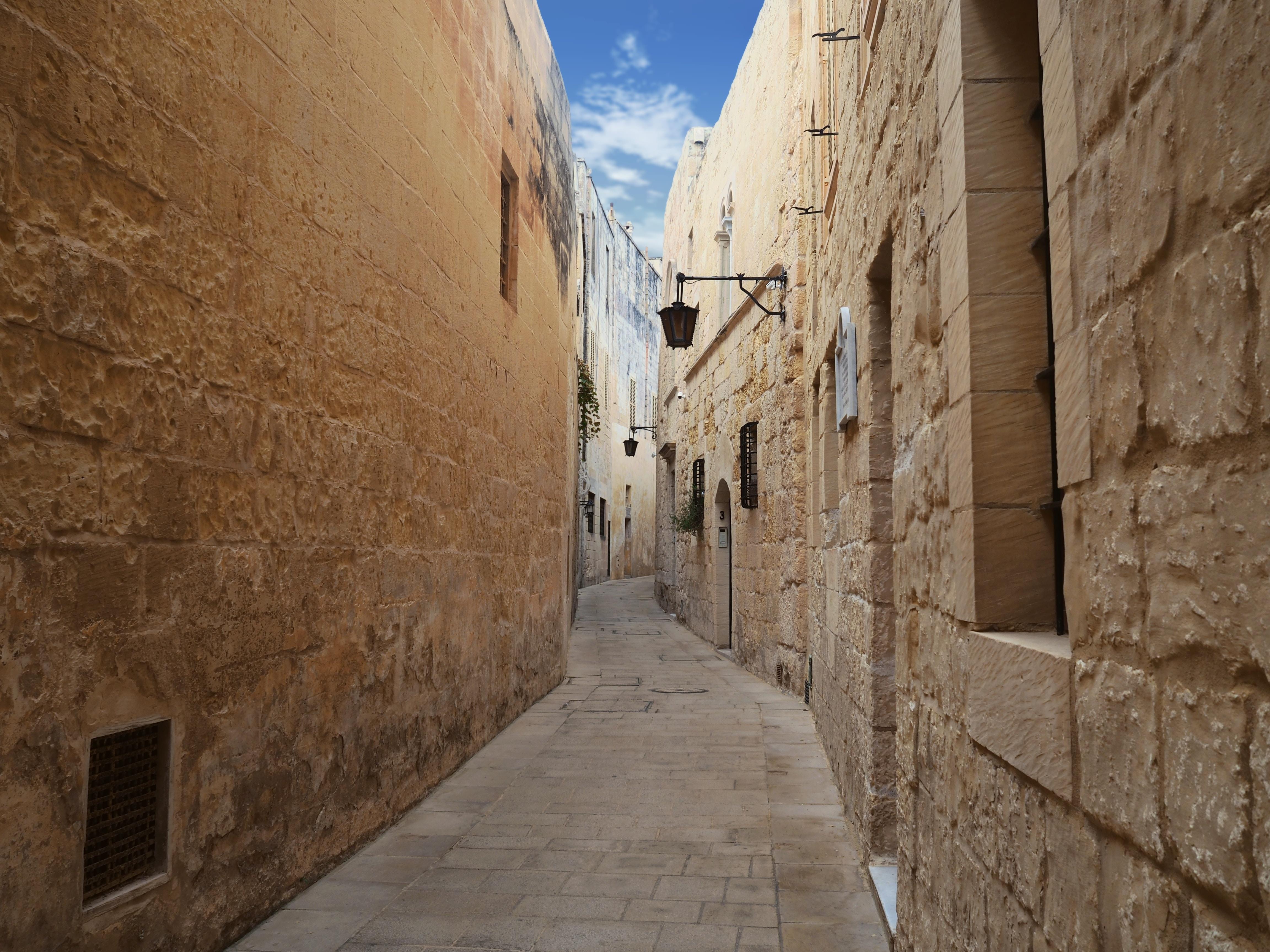 narrow hallway in between brown brick houses