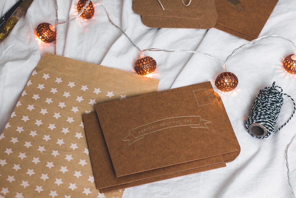 brown box and string lights
