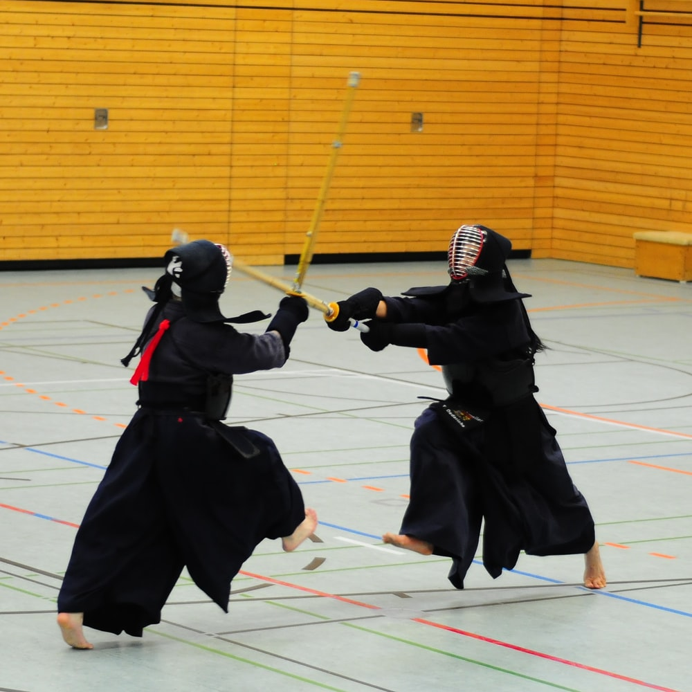 two person playing Japanese sword game