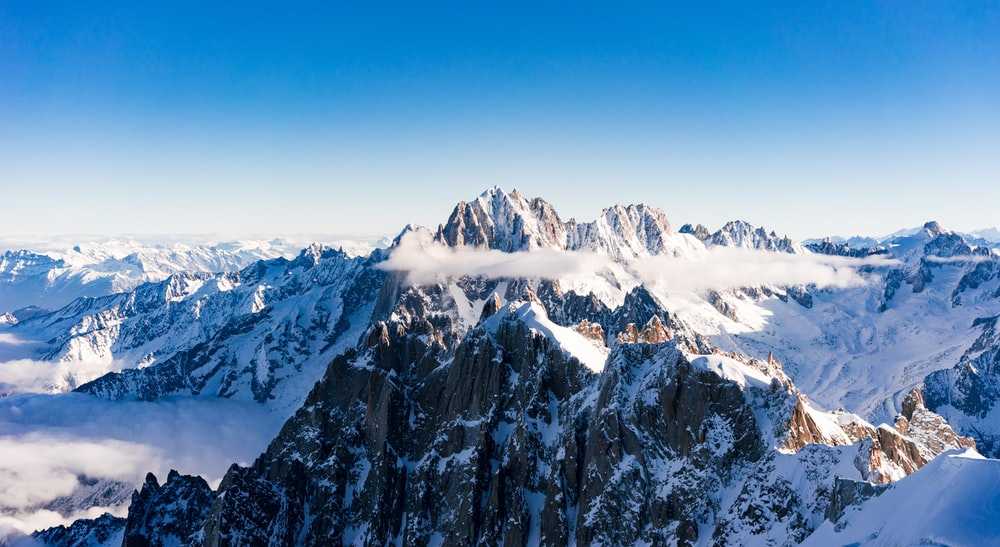 aerial photography of snow covered mountain