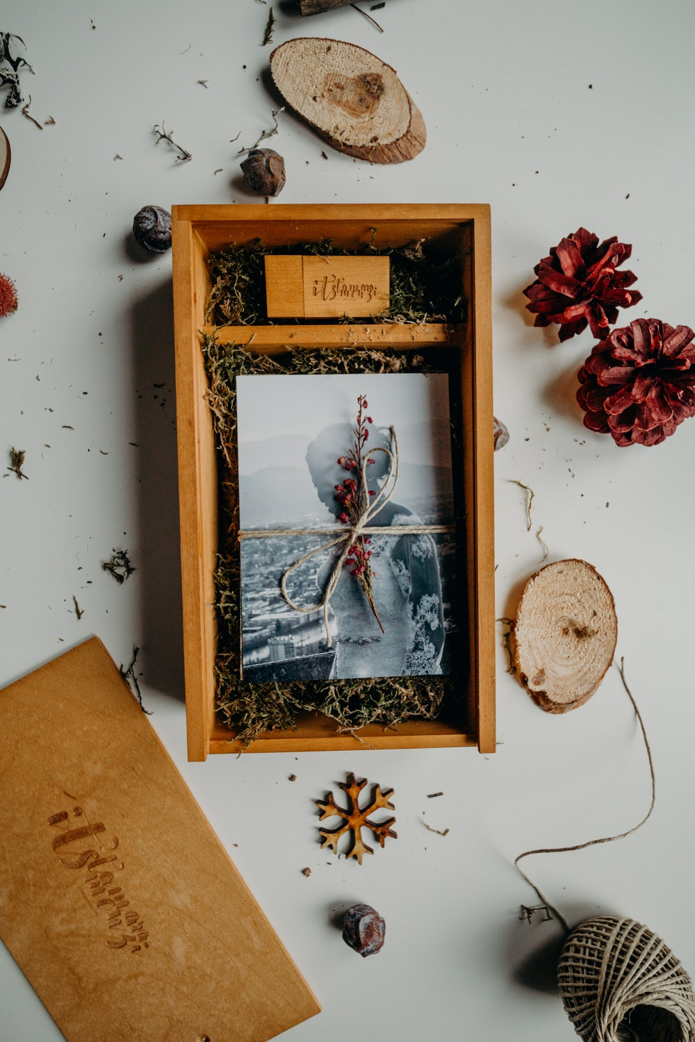 opened box with bride photo