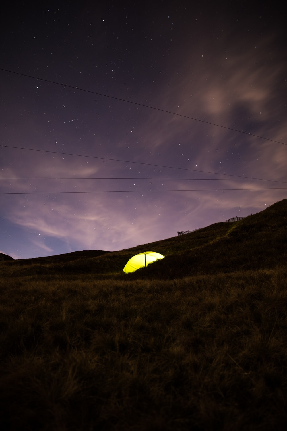 photo of yellow dome tent camping under night sky